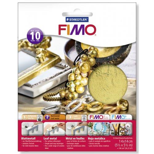 FIMO kovové plátky zlatý, 10 ks