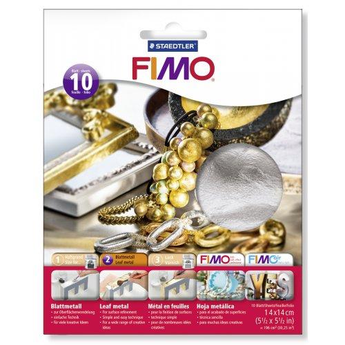FIMO kovové plátky stříbrný, 10 ks