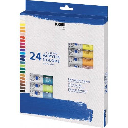 EL GRECO Akrylové barvy sada 24 barev 12 ml