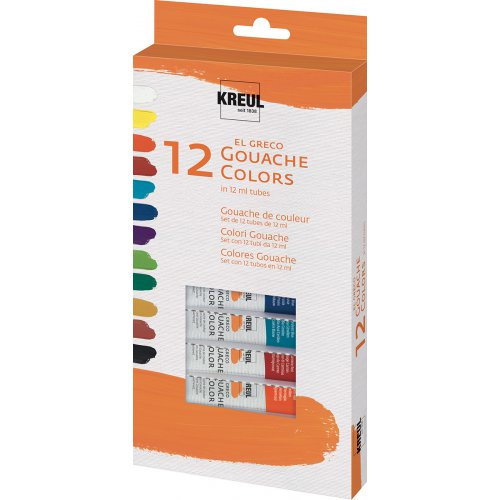 Sada Kvašové barvy EL GRECO, v tubách, 12 barev