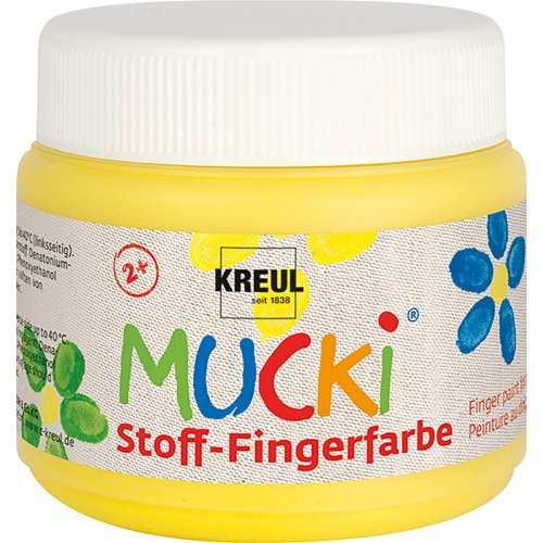 Prstová barva na textil MUCKI žlutá 150 ml