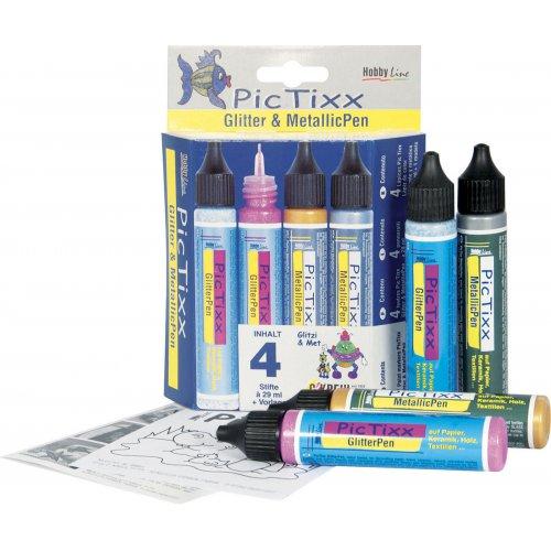 Sada Plustrovací pero  PicTixx Glitter/MetallicPen 4 ks