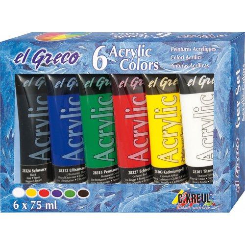 EL GRECO Akrylové barvy sada 6 barev 75 ml