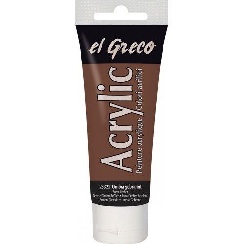 Akrylová barva EL GRECO tmavě okrová 75 ml