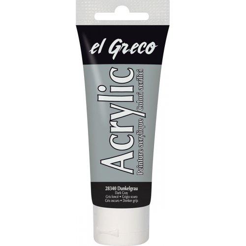 Akrylová barva EL GRECO tmavě šedá 75 ml