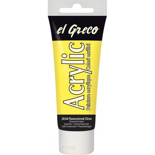 Akrylová barva EL GRECO fluorescenční citronová 75 ml