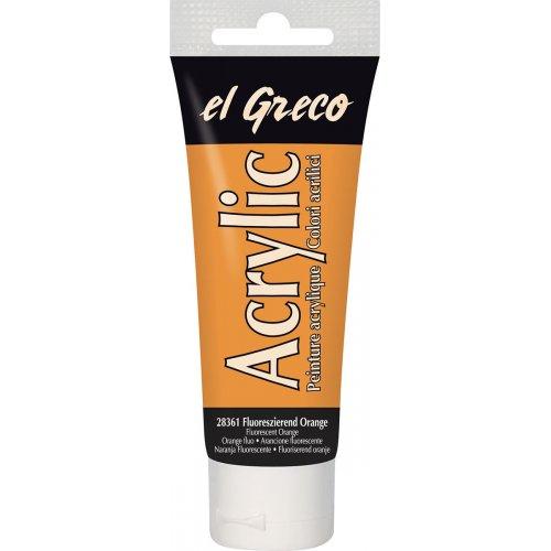 Akrylová barva EL GRECO fluorescenční oranžová 75 ml