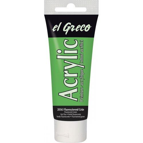 Akrylová barva EL GRECO fluorescenční zelená 75 ml