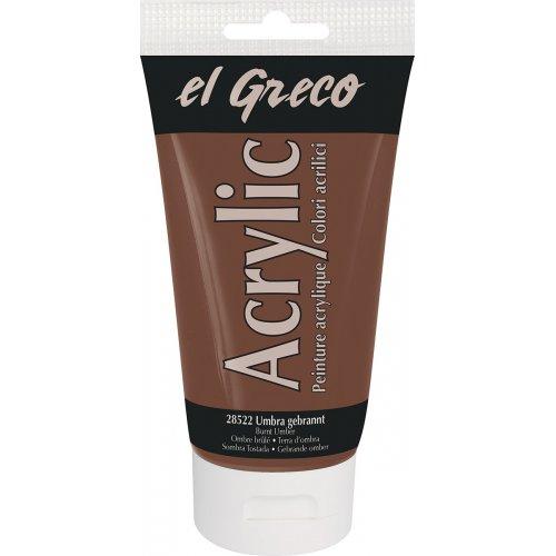 Akrylová barva EL GRECO 150 ml tmavě okrová