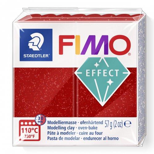 FIMO efekt červená se třpytkami 57g